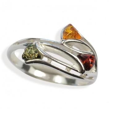 Bague ambre et argent Brynhild Multicolore