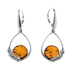 Boucles d'oreilles ambre et argent Sunflower