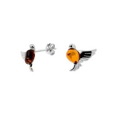 Boucles d'oreilles ambre et argent Oiseau