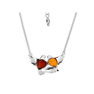 Bracelet ambre et argent Oiseaux