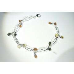 Bracelet ambre et argent Entrechats multicolore