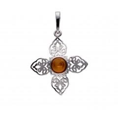 Croix ambre et argent Flocon